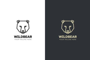 Stylized geometric Bear head illustration. Vector icon tribal design