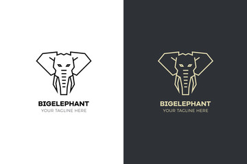 Stylized geometric Elephant head illustration. Vector icon tribal design