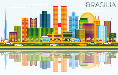 Brasília Brazil City Skyline with Color Buildings, Blue Sky and Reflections.