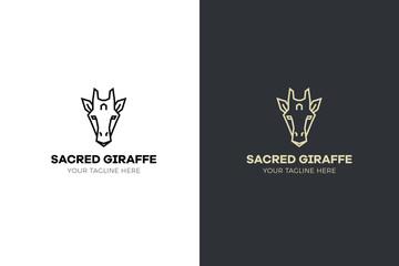Stylized geometric Giraffe head illustration. Vector icon tribal design
