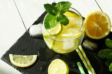 detox cool drink with ice cubes and fresh lemon with mint. top view. close up