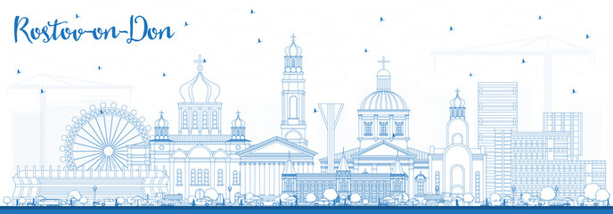 Outline Rostov-on-Don Russia City Skyline with Blue Buildings.