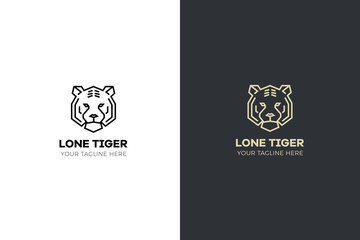 Stylized geometric Tiger head illustration. Vector icon tribal design