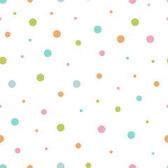 Vector illustration of seamless pattern of multicolored circles
