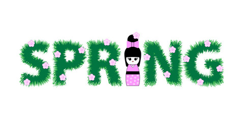 Inscription spring and Japanese Kokeshi doll. Vector illustration