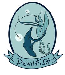 Devilfish inside the oval emblem.