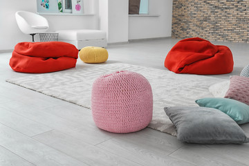 Poufs in room prepared for group psychotherapy session