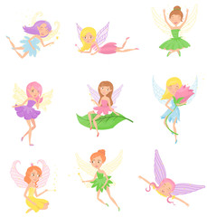 Collection of magic fairies in different dresses. Cute girls with elf ears, colorful hair and little wings. Fictional creatures from fairytales. Flat vector design for kid book or print