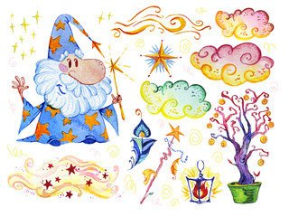 Watercolor magic illustration with hand drawn artistic elements isolated on white background - wizard, hat, wand, spell book. Perfect for patterns, prints, children goods media design, interior design