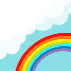 Rainbow in the sky. Fluffy cloud in corner. Cloudshape. Cloudy weather. LGBT sign symbol. Flat design. Pastel blue background. Isolated