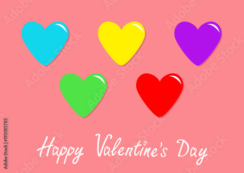 Colorful Heart Icon Set Happy Valentines Day Sign Symbol Template