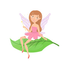 Cute forest fairy sitting on green leaf. Adorable girl with cute elf ears and little wings dressed in fancy pink dress. Fairytale creature. Colorful flat vector design