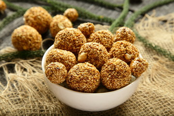 Delicious health balls with sesame and herbs.