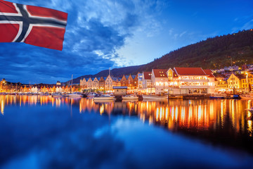 Bergen with flag of Norway