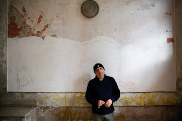 Roberto Biondi, 53, is pictured at the Herculaneum village near Naples