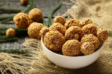 Homemade sesame seed balls