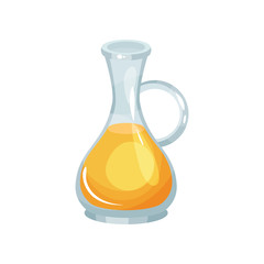 Glass jug of fresh rapeseed oil. Natural agricultural product. Healthy eating. Transparent bottle with yellow liquid. Flat vector design for promotional poster