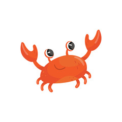 Cartoon illustration of red smiling crab. Funny sea animal with big claws. Adorable marine creature. Colorful flat vector design for card or children book