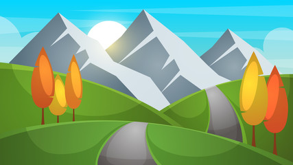 Cartoon landscape. Mountain, firr, cloud sun illustration Vector eps 10