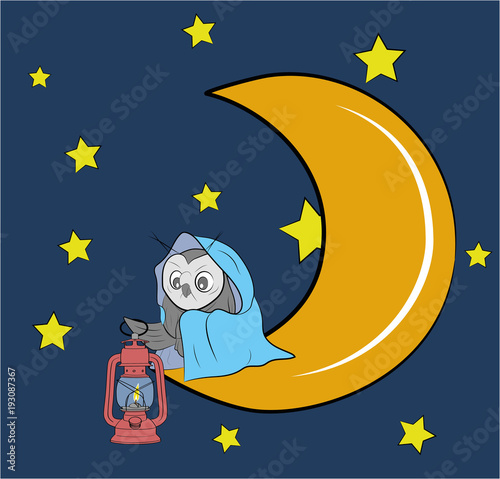 An Owl Is Sitting With A Lamp On The Moon Good Night Vector