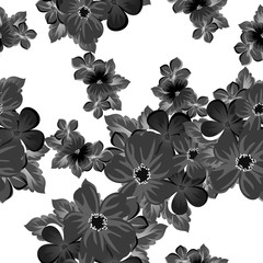 abstract black and white seamless pattern of flowers. For design of cards, invitations, greeting birthday, party, wedding, Valentine's day. On textiles, Wallpaper.