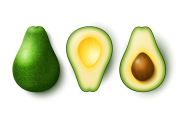 Vector realistic fresh fruit avocado isolated on white background. Whole and cut in half avocado with pit