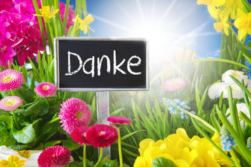 Sunny Spring Flower Meadow, Danke Means Thank You