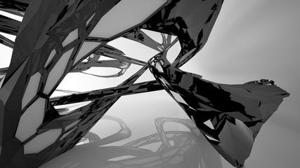 Abstract white and black parametric interior with window. 3D illustration and rendering.