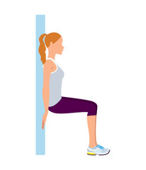Woman doing wall sit fitness exercise. Vector