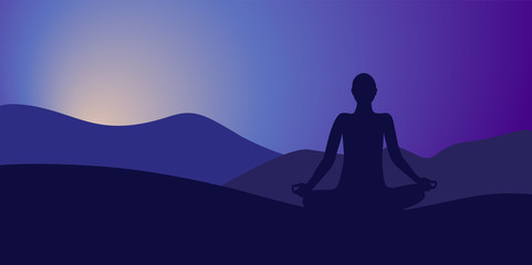 durch yoga zur ruhe kommen am abend berglandschaft