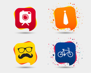 Hipster photo camera with mustache icon. Glasses and tie symbols. Bicycle family vehicle sign. Speech bubbles or chat symbols. Colored elements. Vector