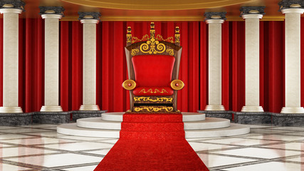 Red carpet leading to the luxurious throne. 3D illustration