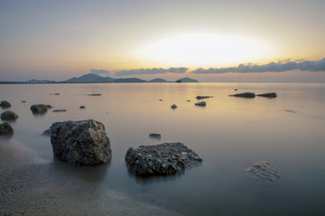 beautiful sea scape with morning light at saphan hin beach phuket southern of thailand