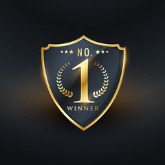 no. 1 winner badge label golden vector design