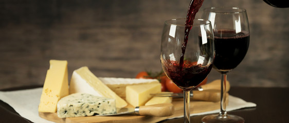Poster Vin Red Wine and cheese board