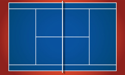 Ping pong table in flat design - top view. Blue tennis table. Vector illustration