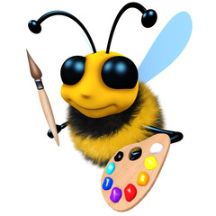 3d Funny cartoon honey bee character with paintbrush and palette
