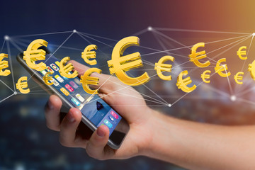 Euro sign flying around a network connection - 3d render