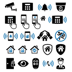 Security system network icons. Vector illustrations.