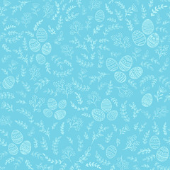 Seamless Easter decorations with eggs on blue background