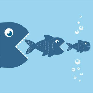 big fish eat little fish, food chain design, stock vector illustration