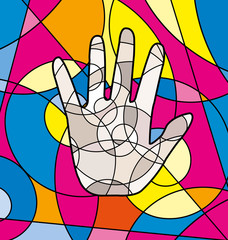 abstract colored image of hand