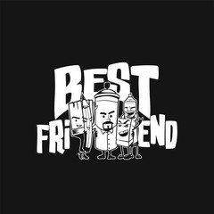 Illustration of best friends.