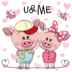 Two Pigs on a hearts background