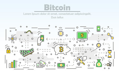 Bitcoin advertising vector modern thin line flat design illustration