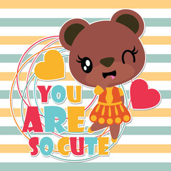 Cute bear girl on striped background vector cartoon illustration for Kid t-shirt background design, postcard, and wallpaper