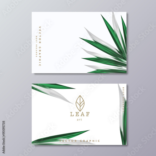green botany business card template with tropical lush foliage on white background and line art leaf