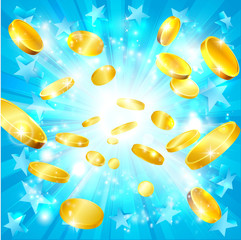 Money Gold Coins and Stars Jackpot Background
