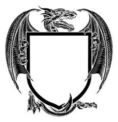 Dragon Crest Coat of Arms Heraldic Emblem Shield