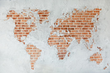 Foto op Plexiglas Wereldkaart Red brick wall with earth plaster and white ground